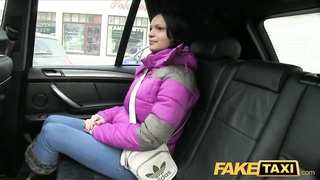 FakeTaxi Black haired hottie cum on tits Thumb