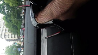 lick my heels clean! slut in the car leather&louboutin heels Thumb