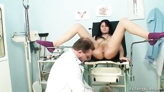 Girl has her pretty pussy examined by doctor Thumb