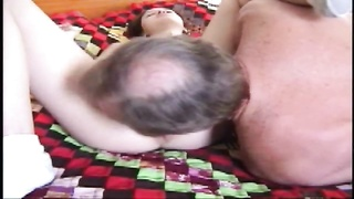 Her wet young pussy takes his old dick Thumb