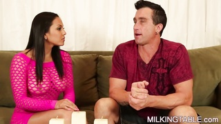 Adrianna Jerks a Huge Dick under the Cock Milking Table Thumb