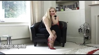 Hot young blonde wearing sexual and very erotic high heel shoes Thumb