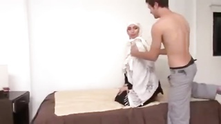 White Hijab Muslima ruined for Small Muslim Penis by French Cock Thumb