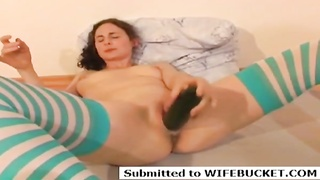 Cucumber fucking her naughty wife pussy Thumb