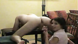 Sexy wife milking cock and making it cum Thumb