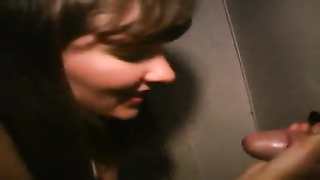 Wife at gloryhole with hubby watching Thumb