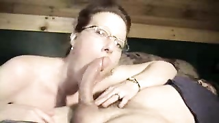 Cute wife in glasses deepthroating dick Thumb