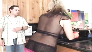 Housewife in lingerie nailed in her kitchen Thumb