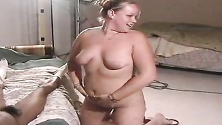 Chubby blonde wife goes black while hubby watches Thumb