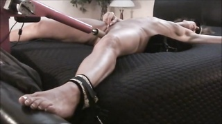 MILF BABE TIED UP ON BACK CUMS HARD - fucking machine Thumb