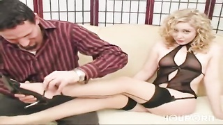 Lingerie-wearing blonde wants to make him cum - Mavenhouse Thumb