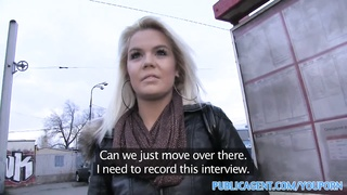 PublicAgent Bleached blonde babe gets fucked outdoors behind a coach Thumb
