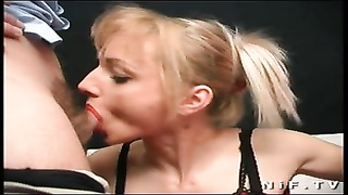 Big boobed french blonde sodomized in threesome Thumb