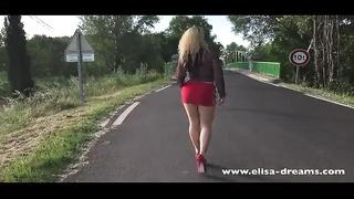 Flashing in public on the road wearing a slut skirt Thumb