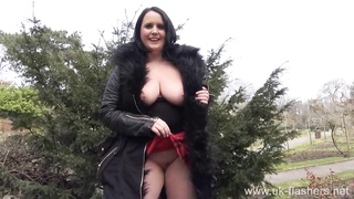 Busty amateur milf Sarah Janes flashing and public masturbation of naughty Thumb