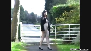 Girlfriends public flashing and amateur voyeur exposing herself outdoors Thumb