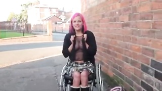 Wheelchair bound Leah Caprice in uk flashing Thumb