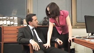Secretary fucks two. Double penetration. Thumb