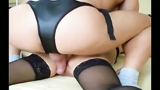 hubby double-penetrates his wife with cock and strap-on Thumb