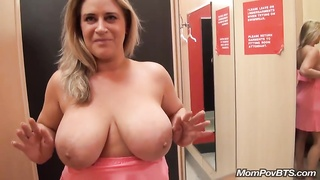 Big natural tits MILF flashes in public then fucks and sucks me off Thumb