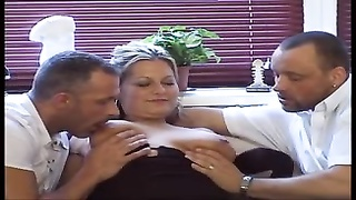 Chubby Blonde in lingerie takes 2 cocks Thumb