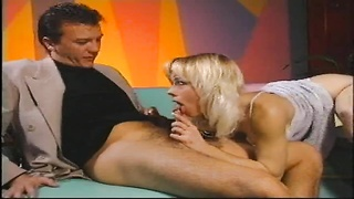 Hot middle aged blonde takes on 2 large dicks at the same time Thumb