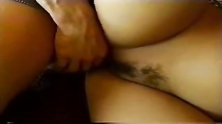Hairy girl takes on two cocks Thumb