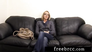Beautiful Blonde Gets Creampied on Backroom Casting Couch Thumb