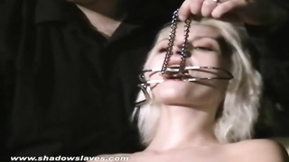 Blonde bondage babe Wynter tortured and humiliated by her sadistic master Thumb