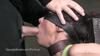 Amazing MILF Syren de Mer Face Fucked in Bondage with 2 cocks Thumb