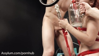 Skinny redhead gets hard anal and filthy ATM from evil doctor and orderly Thumb