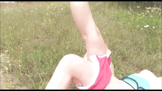 Beautiful young brunette masturbates outside in nature Thumb