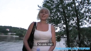 PublicAgent Cute short haired blonde fucked outdoors Thumb