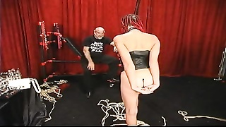 Slut with long braided hair get her tush beaten red by old master Thumb