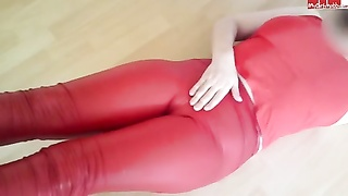nylonwife -red cameltoe rubbing and big titts shake Thumb