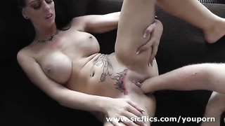 Fisting her pierced and tattooed monster pussy Thumb