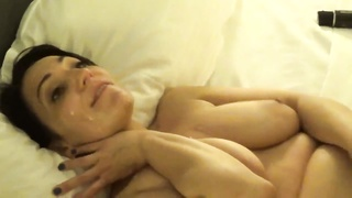 Beautiful wife takes load like a champ as Hubby films. Thumb