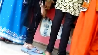 Candid indian anklet feet shoeplay  in flipflops Thumb