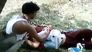 Indian Girl allow to play her lover with her Boobs in a Park Thumb