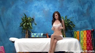 Perfectly shaped massage girl spreading legs Thumb