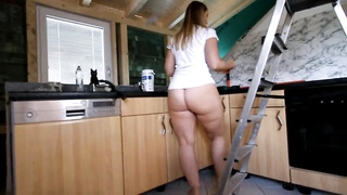 Fat Ass PAWG Cleaning the Kitchen Bottomless Thumb