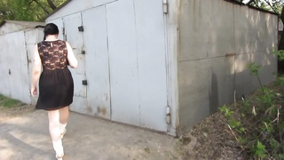 piss standing near the garage and a large stream boyfriend filmed it on cam Thumb