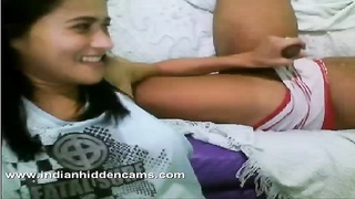 indian girl with her boyfriend on webcam enjoying indian sex jerking him off Thumb