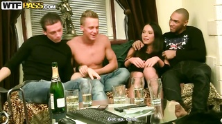 Young slender babe Natalie likes rough gang bang Thumb