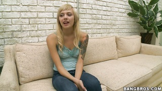 Cute blonde teen Emma Mae fingers her wet muff Thumb