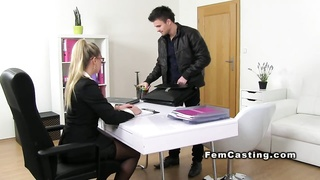 Blonde female agent in stockings sucks and fucks Thumb