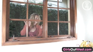 Girls Out West - Hairy amateur blondie eating banana Thumb