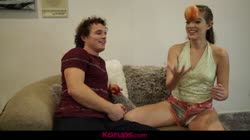 Karups - Alyce Anderson Juggles Her Step Brothers Balls In Her Pussy Thumb