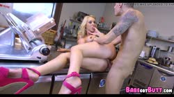 Blonde MILF gets Anal in the kitchen Thumb