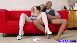 Glamorous brunette fucked by old man Thumb
